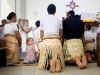 Tonga, Ofu Island (2014): Hanna in the church; Photo: Thomas Alboth