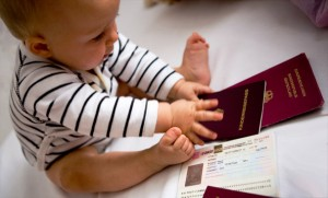 Hanna playing with our passports