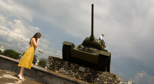 Girl with Tank in Tiraspol (Transnistria; Moldova)