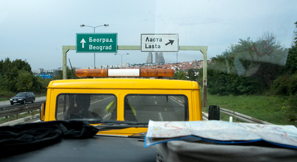In a car service truck driving into the city of Belgrade (Serbia)