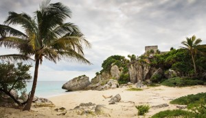 The Maya Temple and the Sea in Tulum, Mexico (Yucatan Penisuela)