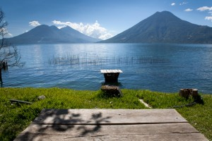 Volcanos of the lake Atitlan from San Marcos (Guatemala)