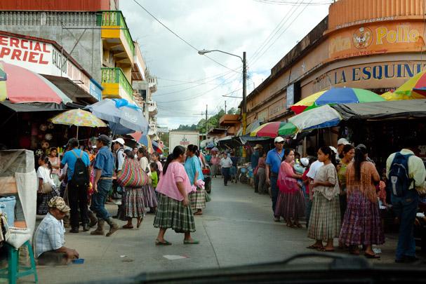 Guatemala: A city drive through market on the main road.