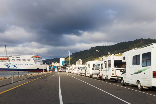 New Zealand: Campers waiting for the ferry boat