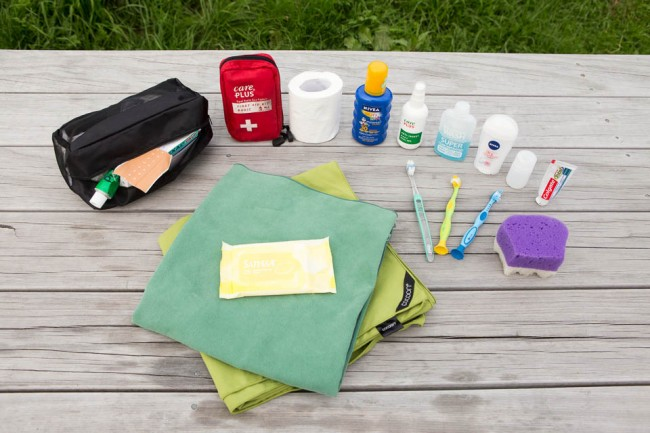 Washing, First Aid Kit – packlist for a family outdoor backpack trip: