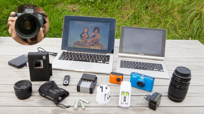 Electronics, Laptop, Photo Camera - packlist for a family outdoor backpack trip:
