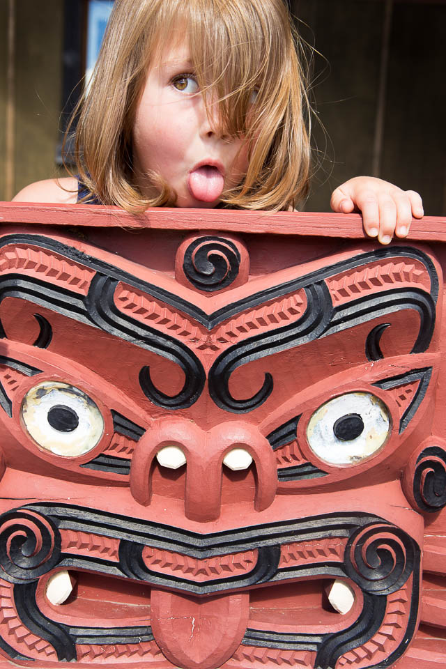Big eyes and tongue out – A Maori war  dance (Haka) face / New Zealand