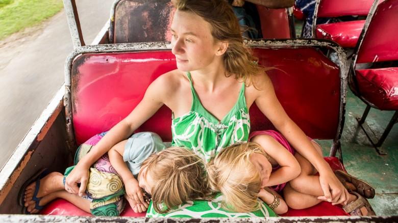 Fiji: Kids sleeping in the bus (Vanua Levu, Savusavu)