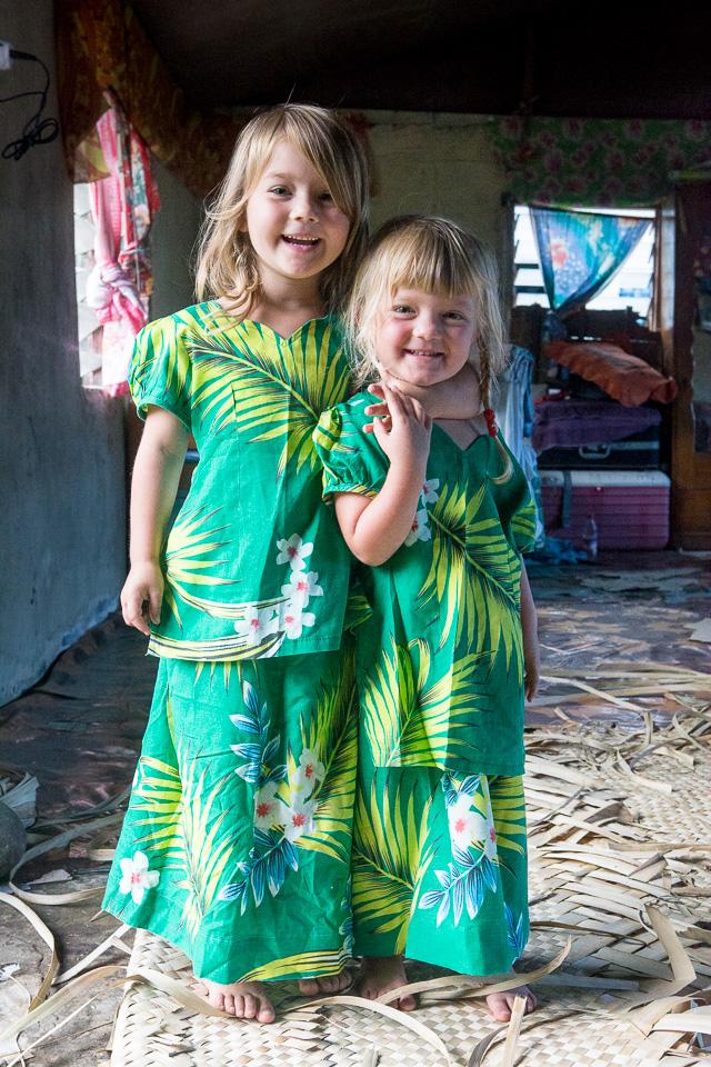 Fiji Traditional Dress On Our Kids On Ovalou Island