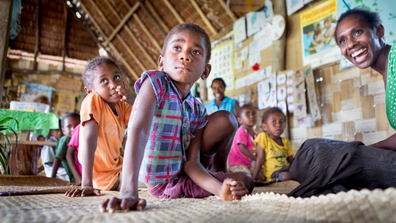 Vanuatu (Malekula, Atchin Island): Kindergarten, Children and teacher