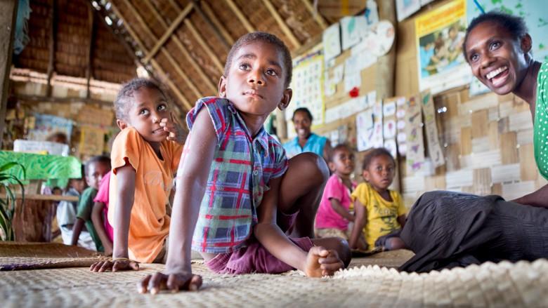 Vanuatu (Malekula, Atchin Island): Kindergarten, Children and teacher