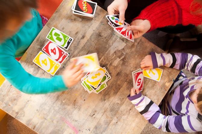 Uno card game - kids, hands