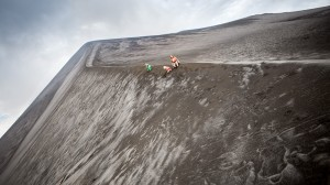 Tanna (Vanuatu, South Pacific): At the active Yasur Volcano ash fields; family