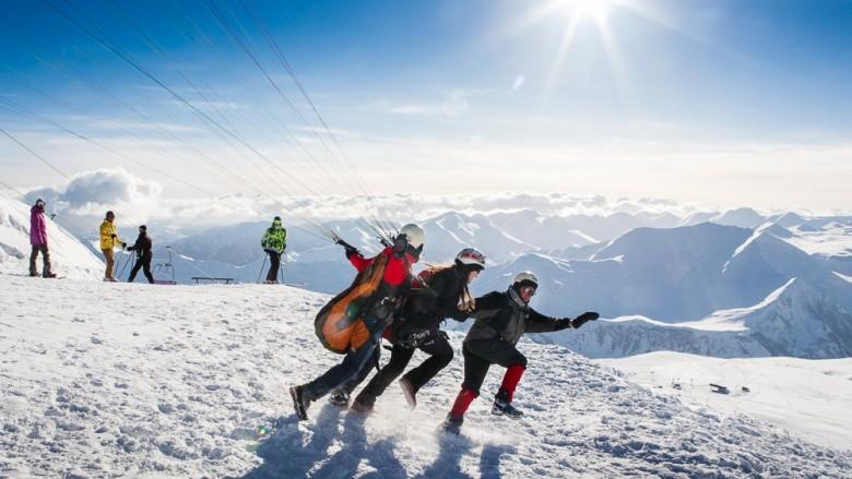 Paragliding in the Gudauri Ski Resort, Georgia, Caucasus, Travel, Family