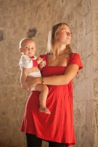 Mother and baby in a church in Nagorno-Karabakh