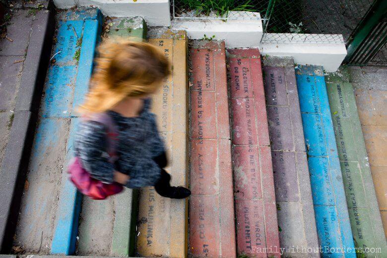 kolorowe schody, Kraków podróż z dzieckiem