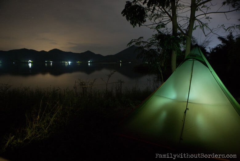 Sleeping in our tent (Thailand, Camping)
